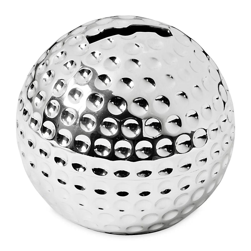2490 Golfball Golfer Spardose Sparbüchse Silber f. Kleingeld Vatertag Geschenk Idee