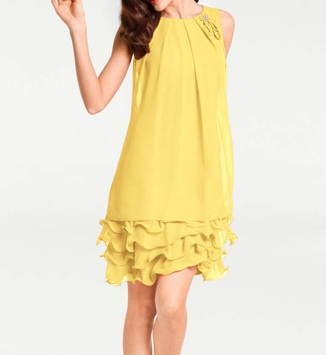 kurzes kleid für besondere anlässe Chiffonkleid, gelb 010.627a Missforty