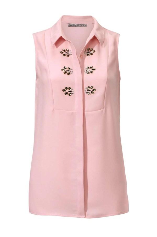 T Shirts ohne Ärmel 012.450 Blusentop m. Strasssteinen, rosé