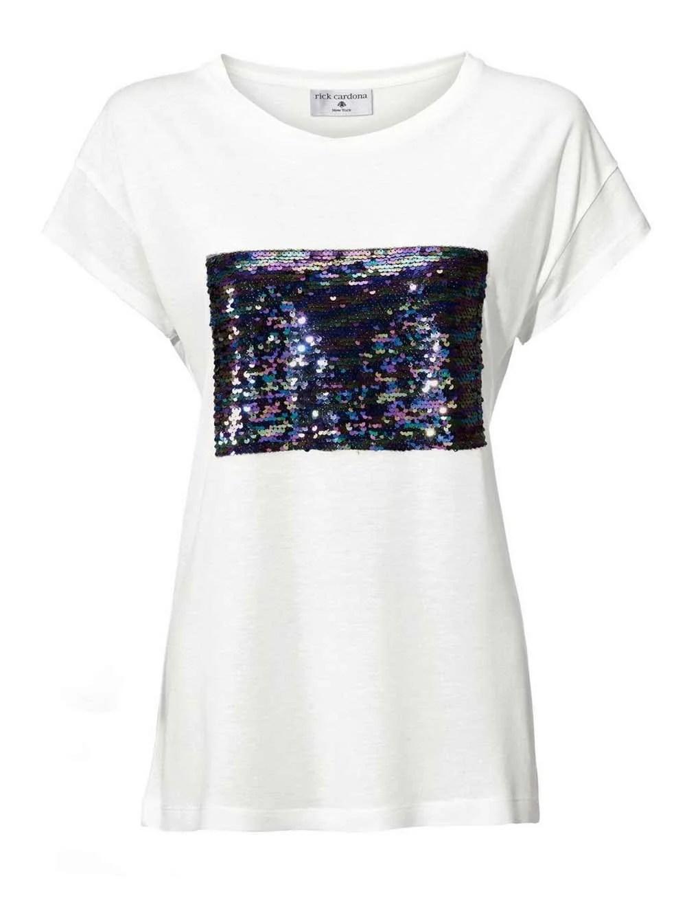 014.502 Rick Cardona Shirt mit Pailletten, ecru