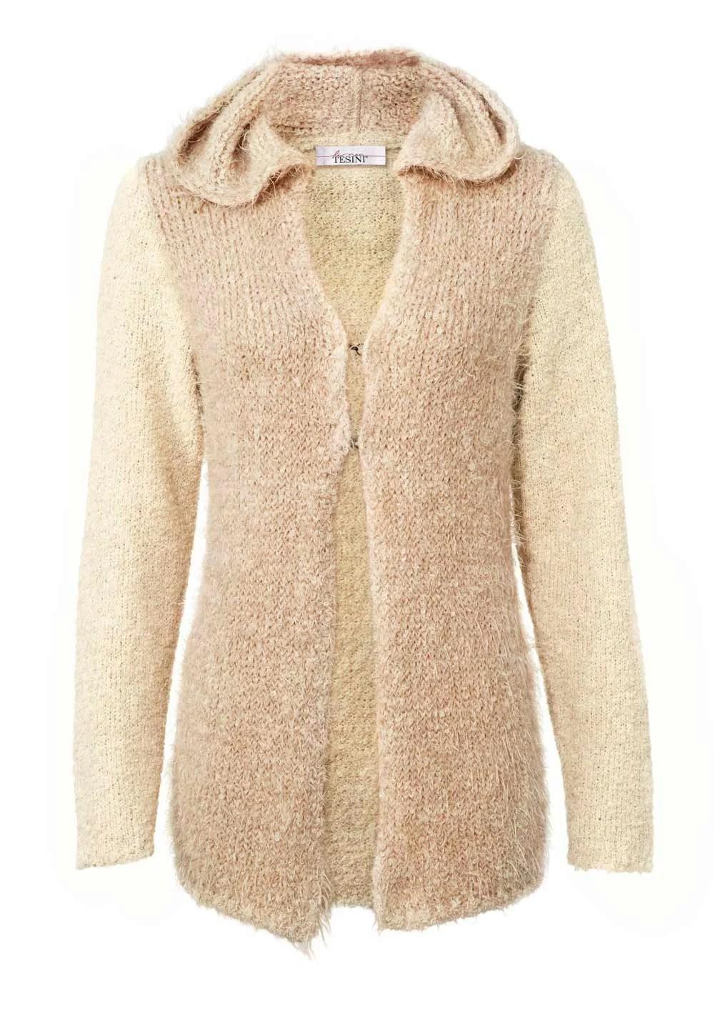 023.441 Damen Strickjacke lang neu Damen Cardigan Pullover puder-creme Longstrickjacke