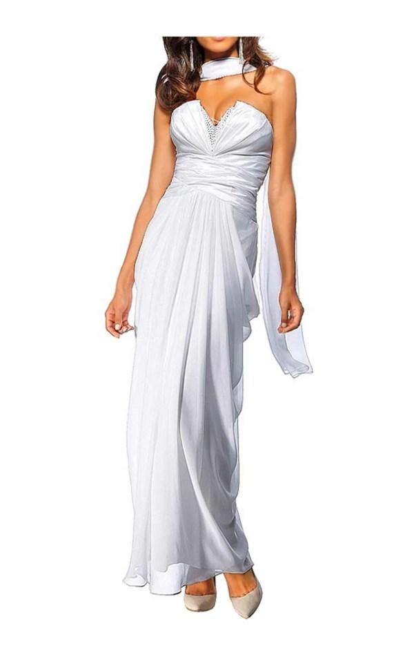 Festmoden HEINE Damen Designer-Abendkleid m. Schal Weiß 024.651 Missforty