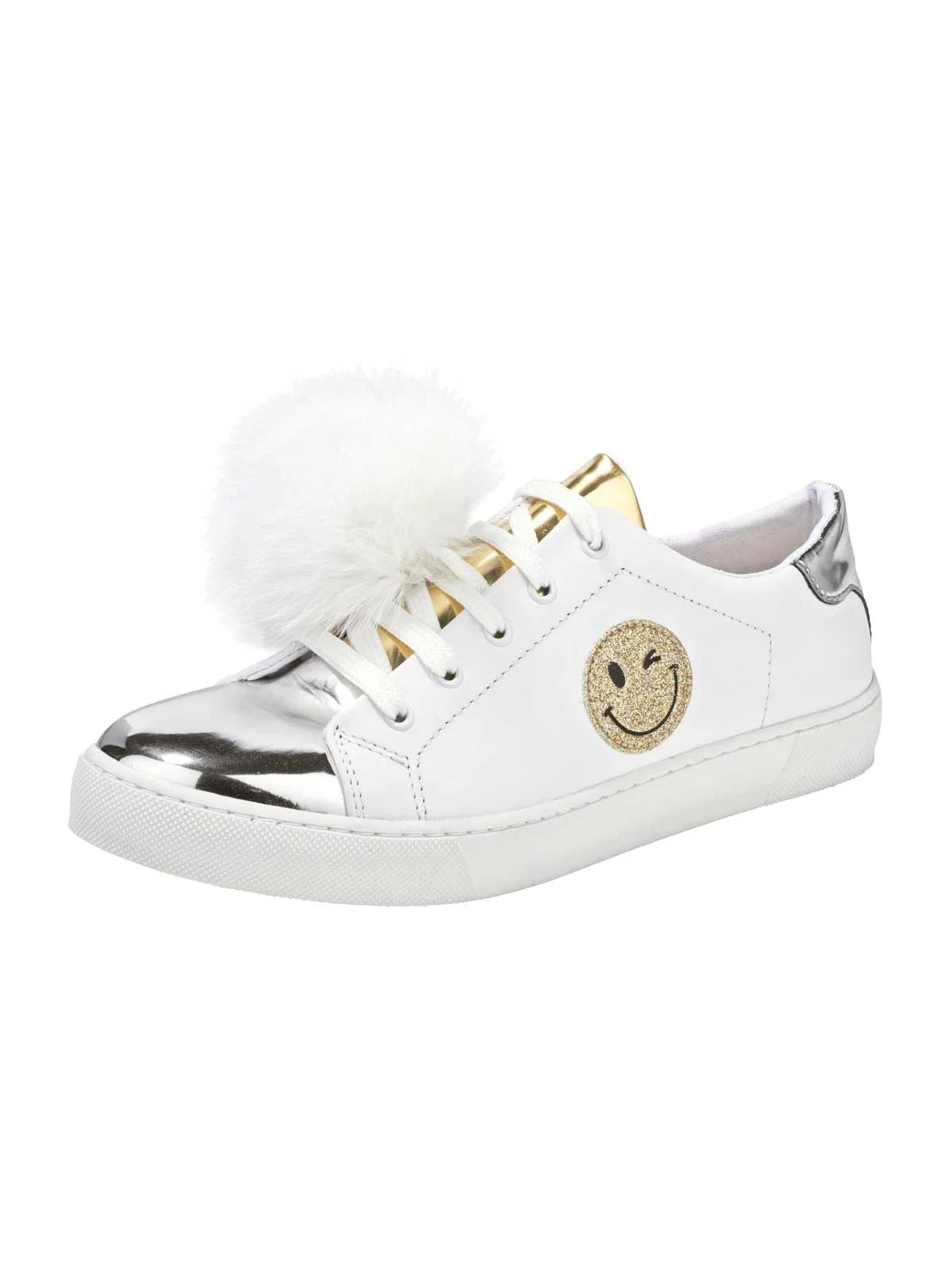 bequeme Schuhe HEINE Leder-Sneaker, weiß-silber-gold 078.008 Missforty.