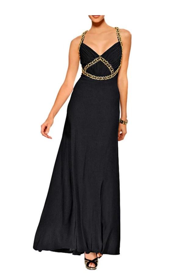 Festmoden HEINE Damen Designer-Abendkleid Schwarz-Gold 082.913 Missforty