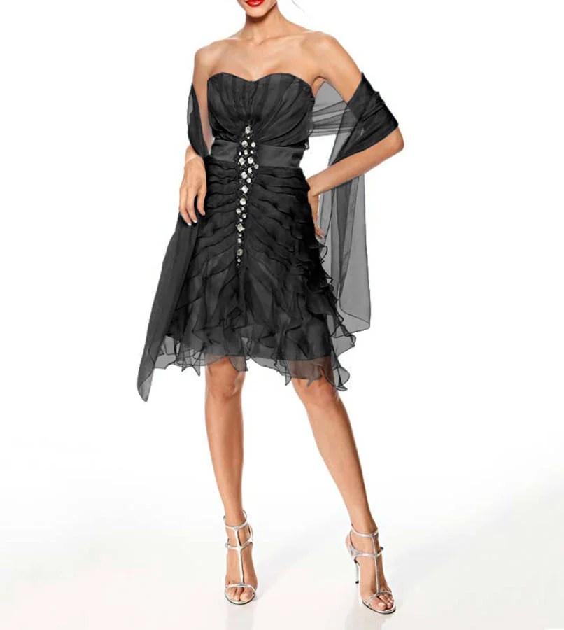 kurzes kleid für besondere anlässe Ashley Brooke event Cocktailkleid m. Schal schwarz 085.505 Missforty
