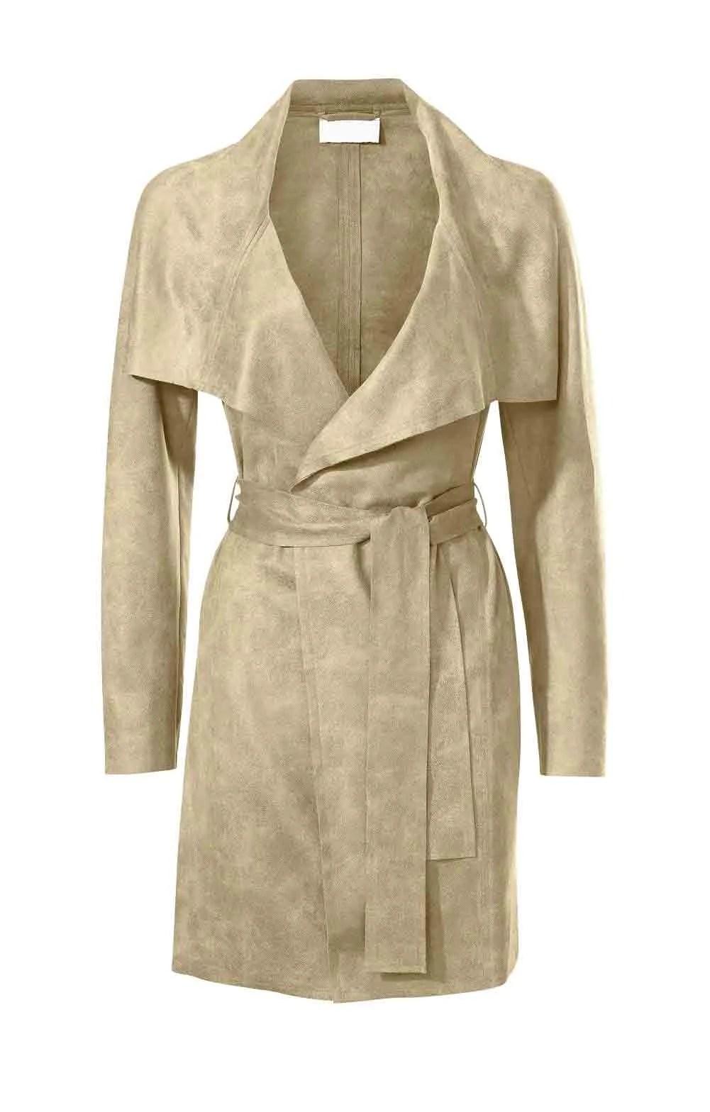 096.057 Velourslederimitatmantel, beige von Travel Couture by HEINE Grösse 44