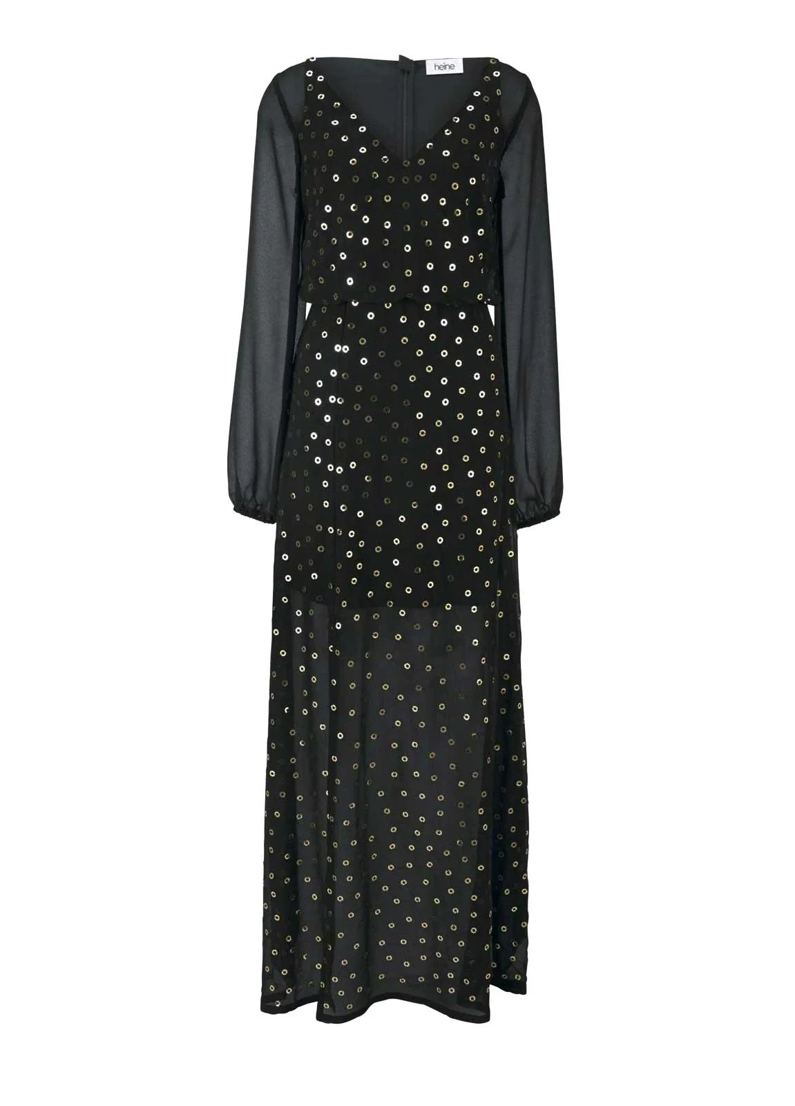 Festmoden HEINE Damen Designer-Abendkleid m. Pailletten Schwarz 258.759 Missforty