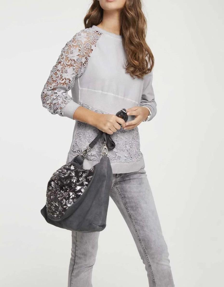 t shirts ohne ärmel HEINE Damen Designer-Sweatshirt m. Spitze Hellgrau-Used 264.927 Missforty