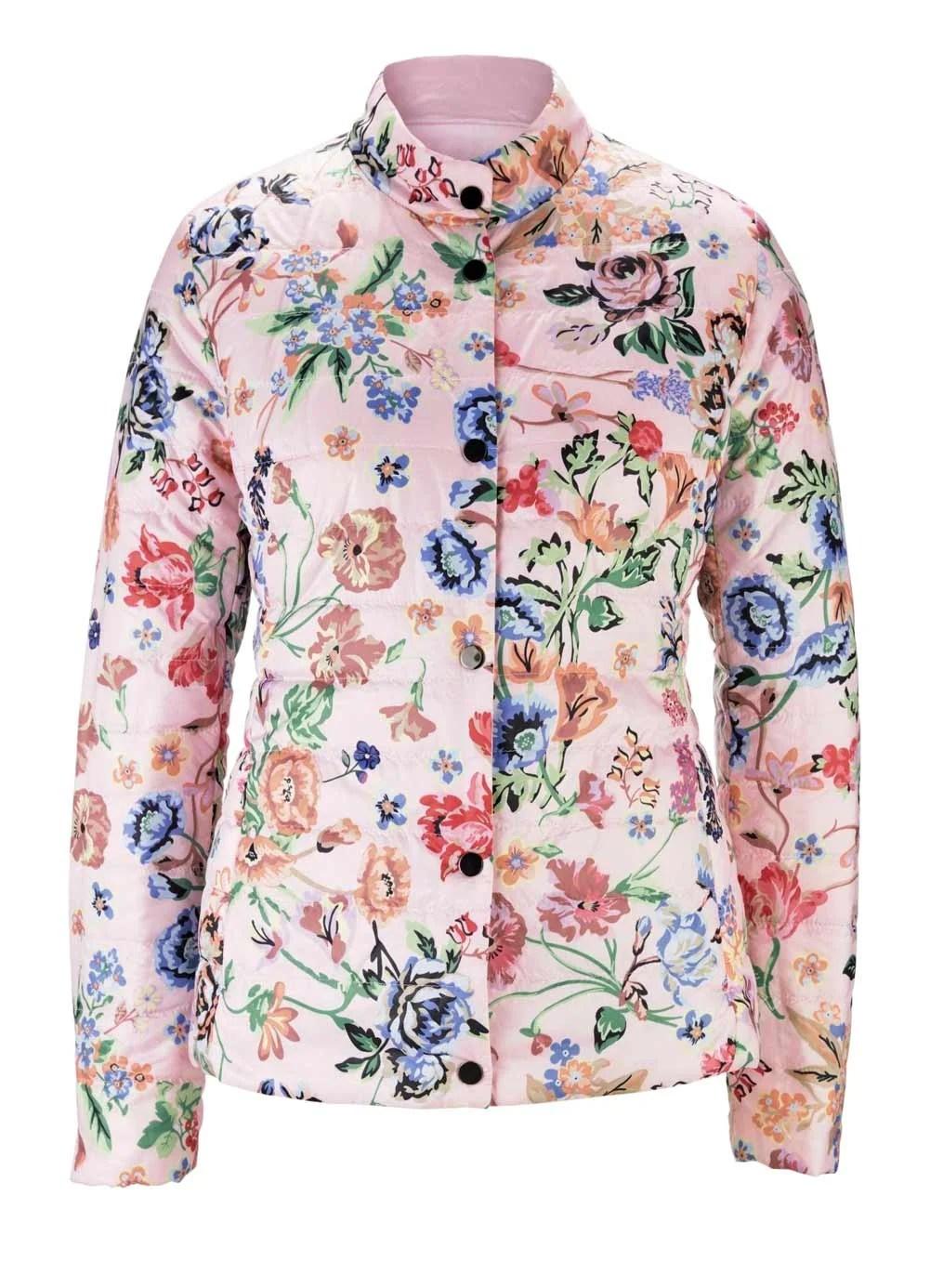 jacken auf rechnung bestellen als neukunde HEINE Damen Designer-Steppjacke Wendejacke Blütenmuster Rosa Rosé-Bunt 428.462 MISSFORTY