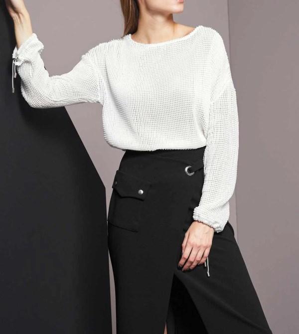 sweatshirts auf rechnung RICK CARDONA Damen Designer-Netz-Sweatshirt Weiß 468.831 MISSFORTY