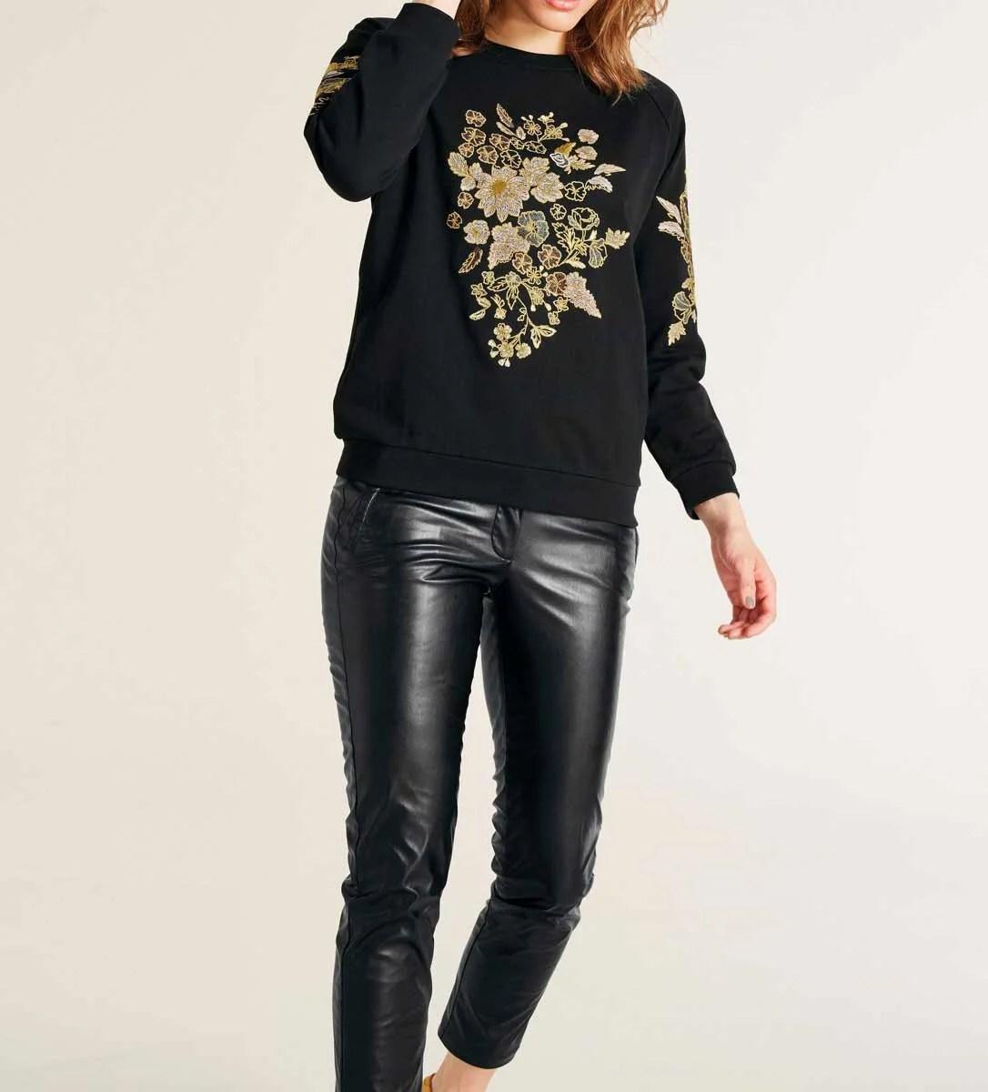 t shirts ohne ärmel HEINE Damen Designer-Sweatshirt m. Stickerei Schwarz-Bunt 598.420 Missforty