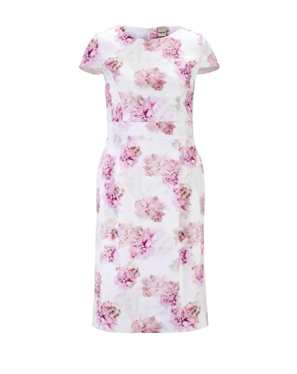 wadenlange kleider für besondere anlässe HEINE Damen Druckkleid Weiß-Pink-rose 727.466 missforty