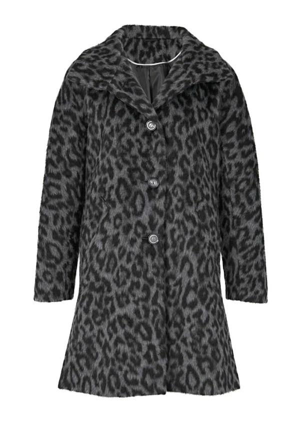 Damenmäntel Frühjahr 2021 Heine Wollflauschmantel Leopardenmuster grau-schwarz 965.045 Missforty
