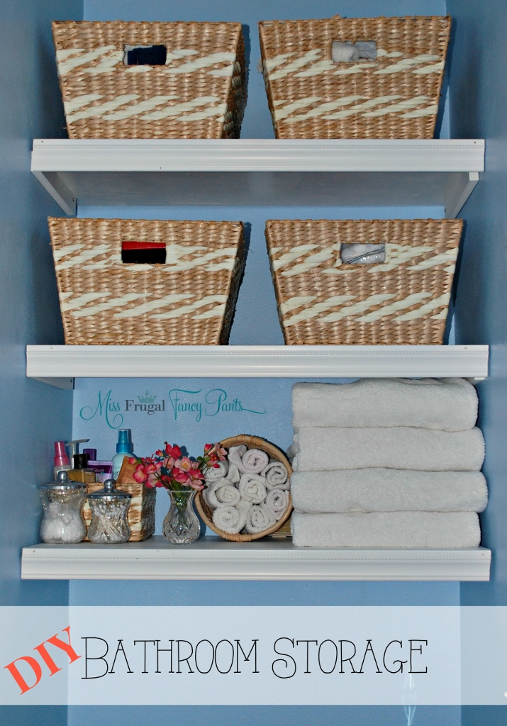 DIY Built In Bathroom Storage Shelves | missfrugalfancypants.com