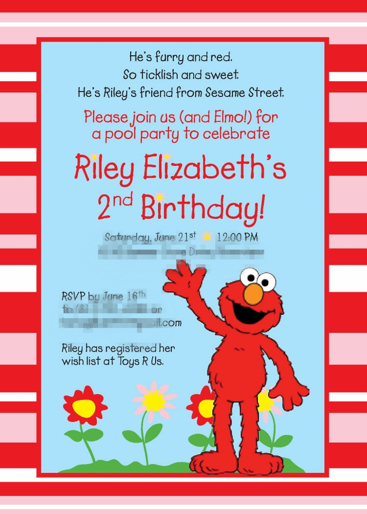 Pink & Red Elmo Birthday Party Invitation| missfrugalfancypants.com