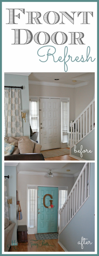 Aqua Front Door Refresh | missfrugalfancypants.com