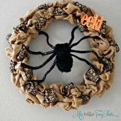 Halloween Burlap Spider Wreath