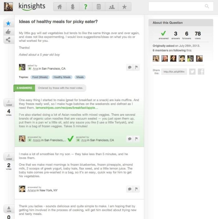 Kinsights Q&A page