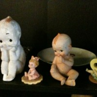 Figurines from Thrift Stores, kewpie, mickey mouse, precious moments, avon, porcelain .50 cents to $5.00