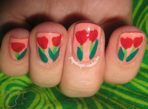 Nail art Tulipes