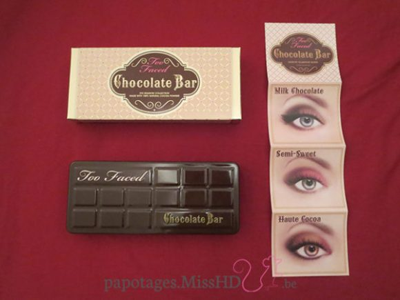 Chocolate Bar de Too Faced - packaging et guide