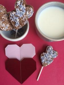 Nougat Herzlollies für heiße Schokolade