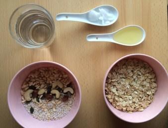 Zutaten für vegane Granola hausgemacht