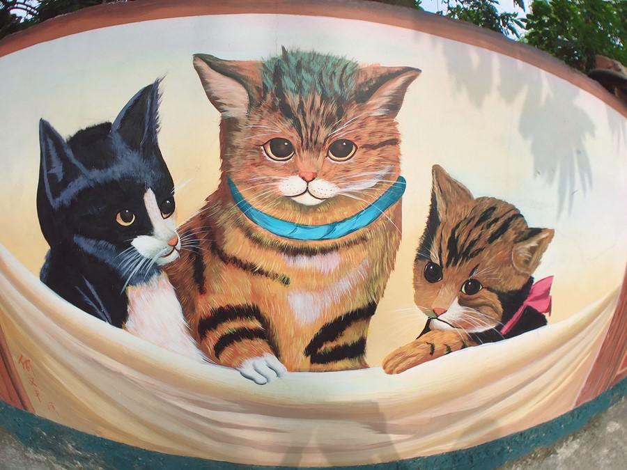 嘉義民雄景點【菁埔社區貓世界】喵星人主題彩繪村!3D立體圖案牆合照好好玩!免費參觀