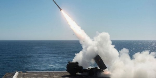 U.S. Marine Corps Fires HIMARS from Ship