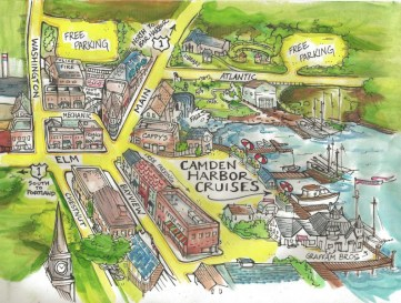План городка Кэмдэн, составленный для туристов. Источник www.camdenharborcruises.com