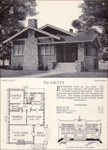 Стандартный план дома в стиле Craftsman Bungalow 1928 года. Источник www.pinterest.com