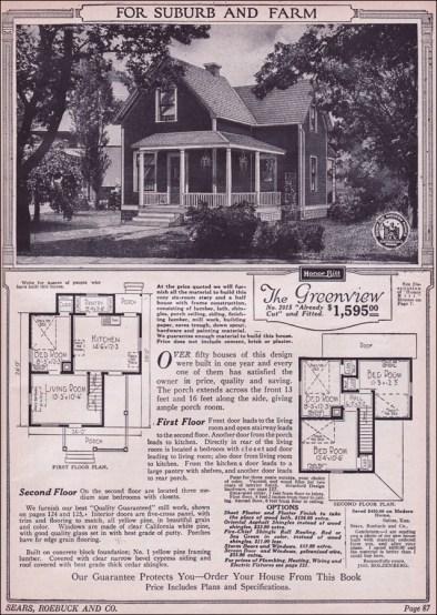 Американский дом: план, фермерский традиционный. 1923 год, компания Sears. Источник http://www.antiquehomestyle.com/