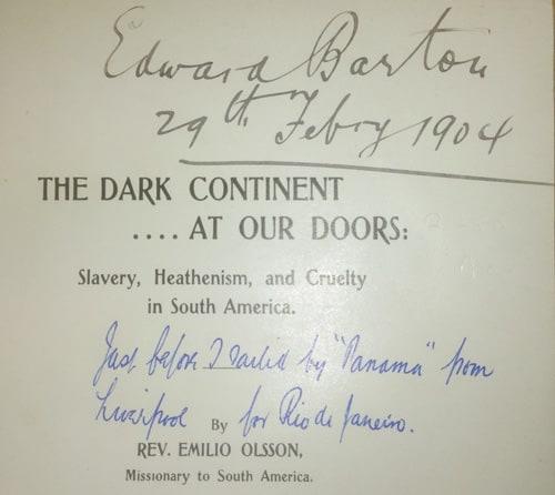 Inscription inside The Dark Continent by Emilio Olsson