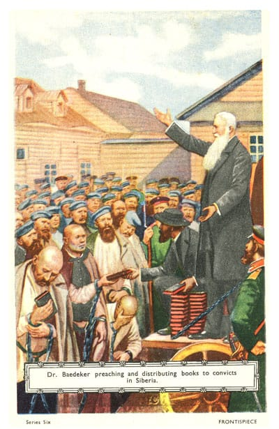 Frontispiece: Dr. Baedeker preaching and distributing books to convicts in Siberia