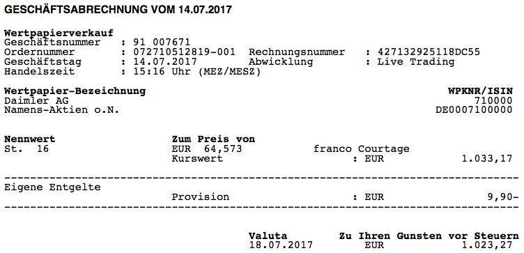 Verkauf Daimler (DDAI.Y) am 14.07.2017