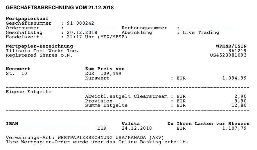 ETFs raus - Kauf von ITW 20.12.2018