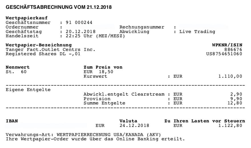 ETFs raus - Kauf von SKT 20.12.2018