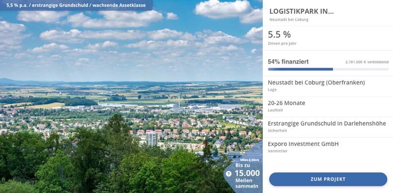 Exporo Finanzierung Beispiel 1 - In Immobilien investieren