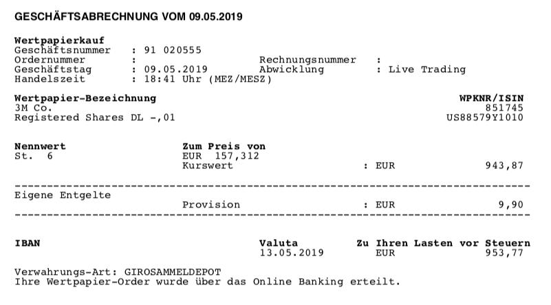Kauf von 3M - Mai 2019