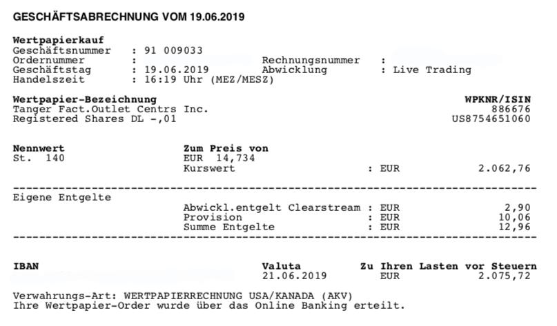 Kauf von Tanger - Juni 2019