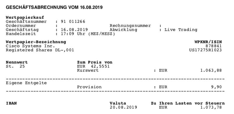Kauf von Cisco - August 2019