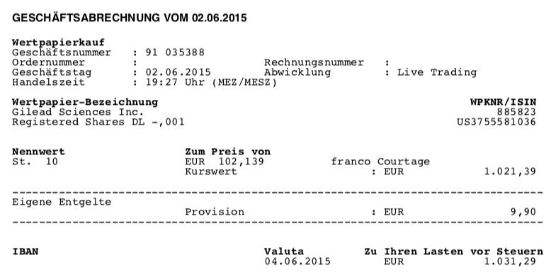 Kauf von Gilead - Juni 2015