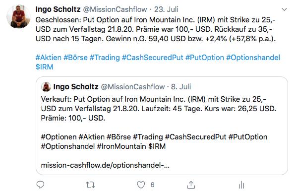 Twitter im Juli - Mission-Cashflow - Einkommen durch den Optionshandel