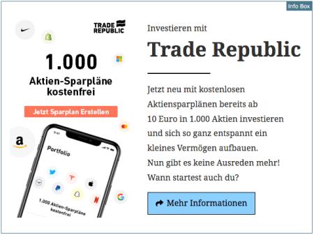 Investieren mit Trade Republic - Jetzt mit 1.000 kostenlosen Aktiensparplänen - September 2020 v2