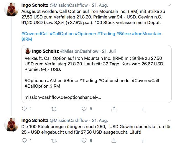 Twitter im August - Mission-Cashflow - Einkommen durch den Optionshandel