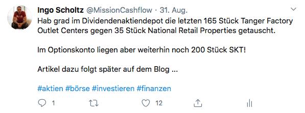 Twitter im August - Mission-Cashflow - Kauf von National Retail Properties