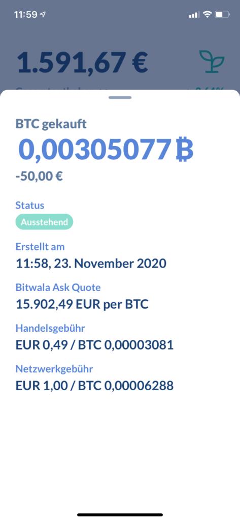 Bitcoin kaufen in 2020 - Bitwala App 2
