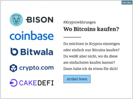 Info Box Bitcoin für den Blog