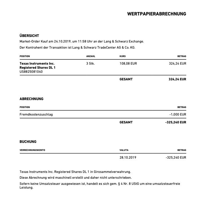Kauf von Texas Instruments - Oktober 2019