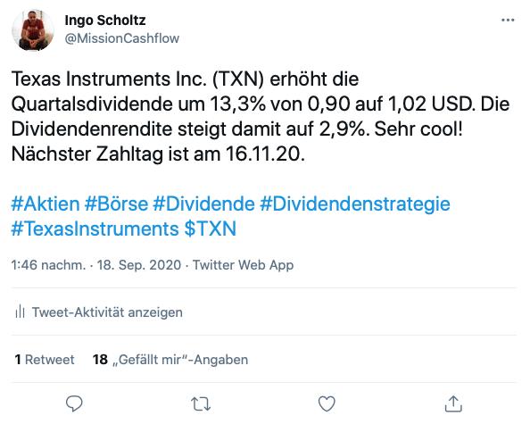 Twitter Dividendenerhöhung Texas Instruments - Kauf von Texas Instruments